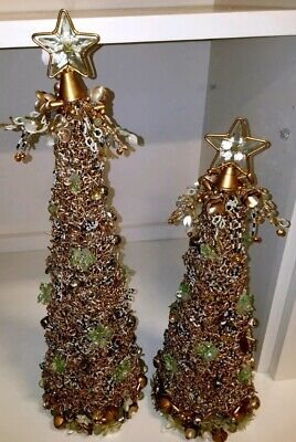 2 New MacKenzie-Childs Snowfall Christmas Trees $325 BIN $89 Free SHIP