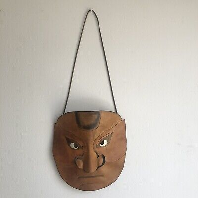 Vintage Leather Wall Hanging Mask. Tribal