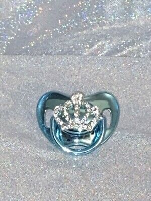 Romany Bling Baby Dummy Blue Metallic Soother Pacifier CAKE TOPPER 👑👑
