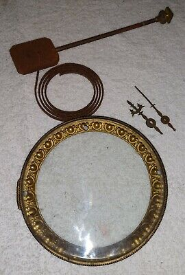 Antique Mantle Clock Parts - hands, gong, beveled glass hinged face cover.