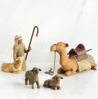 Shepherd And Stable Animals Sculpture Hand Painted Willow Tree Susan Lordi