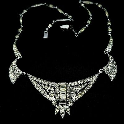 Superb Antique Art Deco Period Old Cut Paste Geometric Necklace