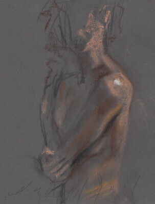 IMPLIED FEMALE NUDE Figure Study 6x8 Life Drawing Naked Woman Pastel Painting NR