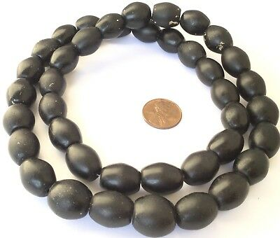 Fine Authentic Black Antique Bohemian Oval Glass African Trade beads-Ghana