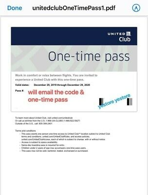 2 Passes for United Club One Time Pass EXP 1/24/2021 Email Delivery NOW!