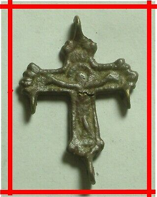 Genuine Original Medieval bronze artifact intact cross pendant Christ Crusifix