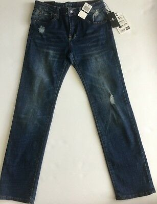 Nwt 7 For All Mankind Sz12Y Jungen Standard Gerade Jeans Stretch Nostalgie Blau
