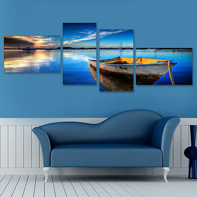 4Pcs Framed Lake Boat Modern Canvas Print Art Painting Wall Picture Home Decor