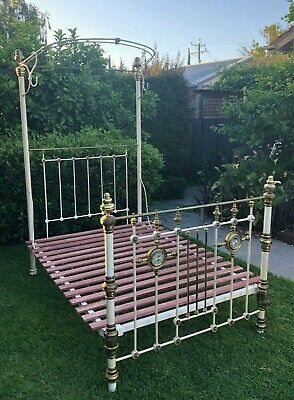Antique Iron & Brass half testa double bed with engraved mirrored crystal motifs