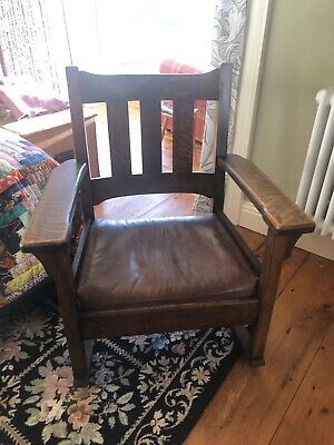 L J G Stickley - Arts And Craft Oak Rocking Chair With Leather Seat