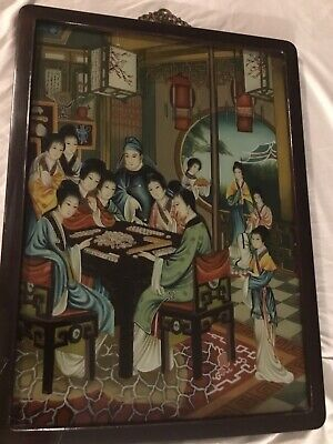 Chinese Reverse Glass Painting of Mahjong Game Setting, VTG & Collectible