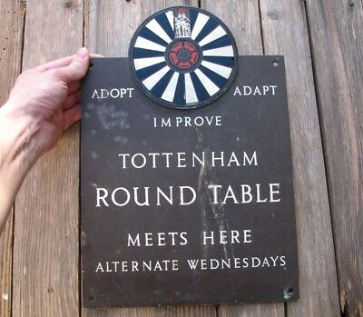 Old Reclaimed Brass Tottenham Round Table Club Sign Plaque