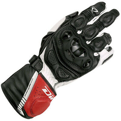 Difi Le Mans Aerotex Waterproof Motorcycle Leather Gloves-Black/Red/White-MEDIUM