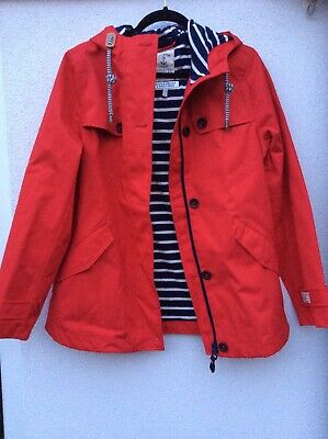 Joules Womens Coast Waterproof Coat in Red Size 12