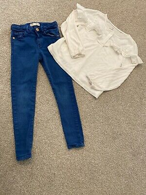 Girls Blue Zara Jeans Ans Next Frill Top Age 6 Years