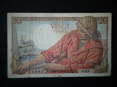 Original WWII period 20 Franc French bank note dated 1942. .