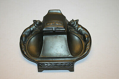 Antique Fox Design Art Nouveau Inkwell.incredible Near Mint Condition.fox Hunt