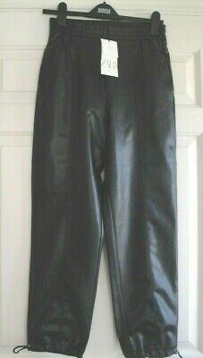 Zara Trousers Joggers Faux Leather Bnwt Black Size Xs 6 - 8 Ladies Girls