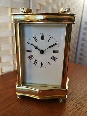 "French Antique 5 Glass ""Louis XV Doucine"" 8 Day Serpentine Brass Carriage Clock"