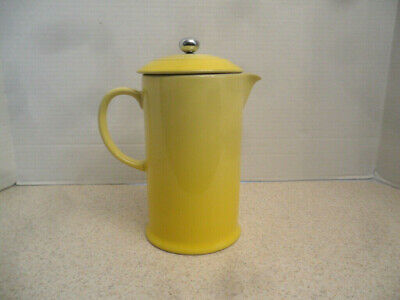 ✅ Le Creuset French Press Coffee Maker Soleil Yellow Stoneware 27 Ounce NEW