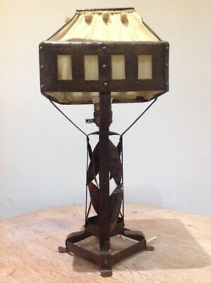 Arts & crafts Hand Hammered Jugendstil Secessionist Copper Table Lamp Light
