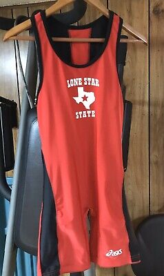 MENS - ASICS WRESTLING SINGLET - ADULT LARGE- BLUE / WHITE TRIM - Athletic Gear