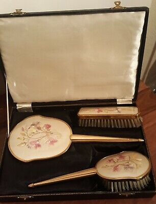 Vintage Boxed Dressing Table Vanity Set 2 x Brushes & Mirror, Embroidered Detail
