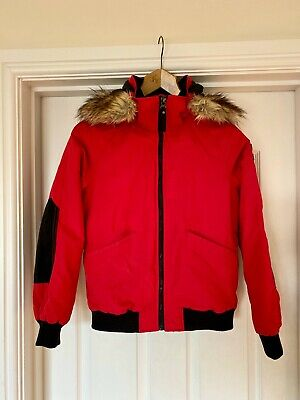 Girls Red Parka Jacket, H&M Age 11-12 Years, Faux Fur Hood, Padded Coat