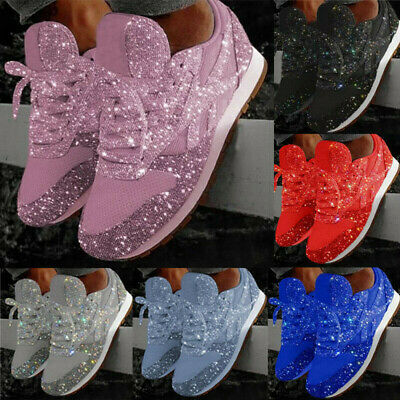 Women Sequin Glitter Rhinestone Lace Up Fashion Shoes Comfort Athletic