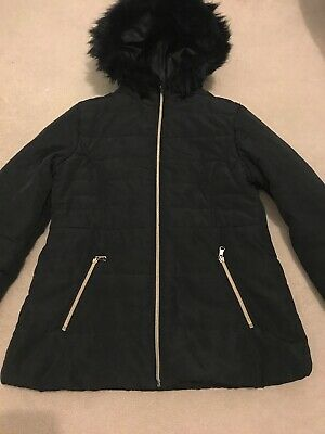 Girls Black Puffa Quilted Jacket Coat, Primark, Age 12-13, Good condition