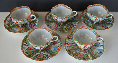 Chinese Porcelain Rose Medallion Footed Cups Saucers (5)