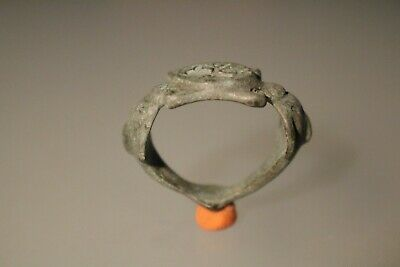 Ancient Fantastic Roman Bronze Ring * Eros and Dolphin 1st - 4th century AD