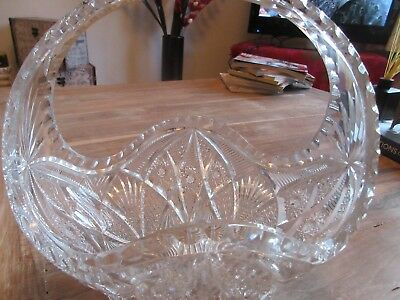 Art deco cut glass Crystal flower basket/vase.no imperfections - beautiful piece