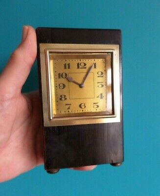 Vintage Art Deco wood & metal square face clock with winding mechanism