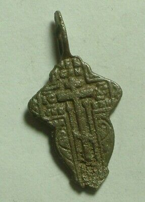 Rare Genuine Original Medieval Christian bronze artifact intact cross pendant
