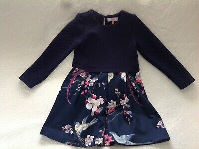 Ted Baker Girls Dress Navy With Pattern Age 8-9