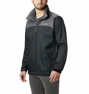 Columbia Men's Glennaker Lake Front-Zip Rain Jacket,Hideaway Hood,Black/Grill, S