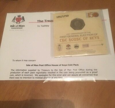 2017 IOM PROOF RECALLED ERROR HOUSE OF KEYS 50P Fifty Pence  Ltd Edition