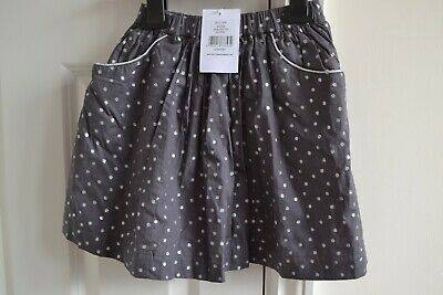 Lovely The Little White Company Girls Grey Sparly Silver Spot Skirt 4-5Y BNWT
