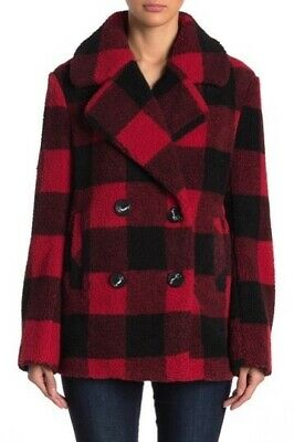 NEW Women S French Connection Faux Fur Buffalo Red Black Plaid Teddy Peacoat