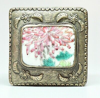 """Vtg Repousse Trinket Box Silver on Copper Chinese Pottery Accent 3.25"""" Square"""