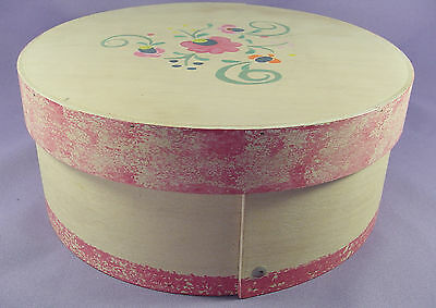 Sewing Crafts Storage Box Pantry Handmade Round Wooden Signed Handpainted Floral