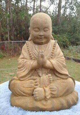 YOUNG HANDS UP BUDDHA HAPPY HOTEI GRAY CONCRETE CEMENT STATUE ANTIQUED WHITE