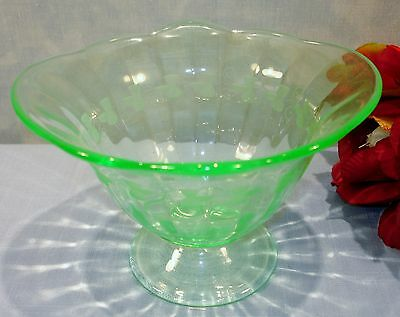 Green Depression Glass Footed Etched Mayonnaise Bowl or Compote