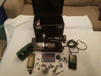 1955 Singer Featherweight Model 221-1 Sewing Machine W/Case, (2) Keys & Accesses
