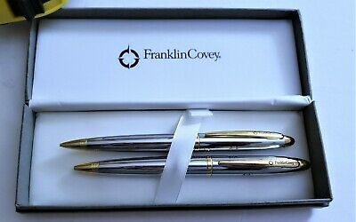 Franklin Covey, Ballpoint Pen and 0.9mm Pencil Set, Chrome with Gold Tones