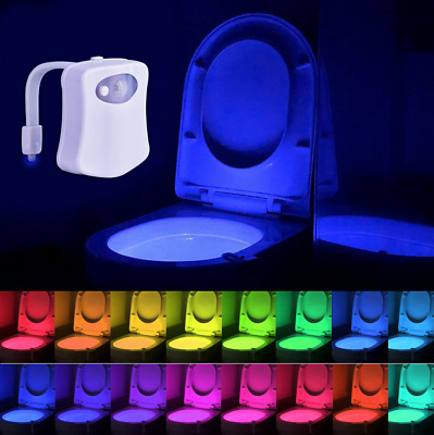8 Color Toilet Night Light LED Motion Activated Sensor Bathroom Bowl Lamp Seat w