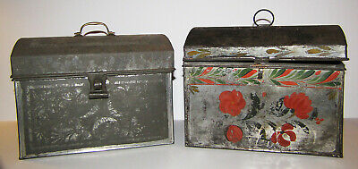Antique Primitive Tinware Toleware Hand Made Dome Top Tin Box Group Latch Handle
