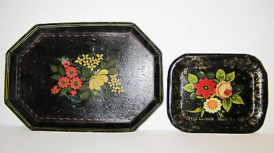 Antique Primitive Tinware Toleware Hand Made Large Small Painted Tray Pair Great