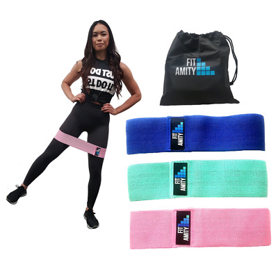 Fit Amity - Resistance Booty Band Set | 3 Non Slip Fabric Exercise Bands & Bag